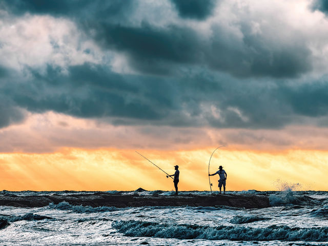 Fisher, first, catch, Galveston, Texas, Gulf, Mexico, jetti, silhouettes, morning, light, wave, Galveston, Island, first, light, Limited, edition, early, northwesters, coast, Gulf of Mexico, crashing,