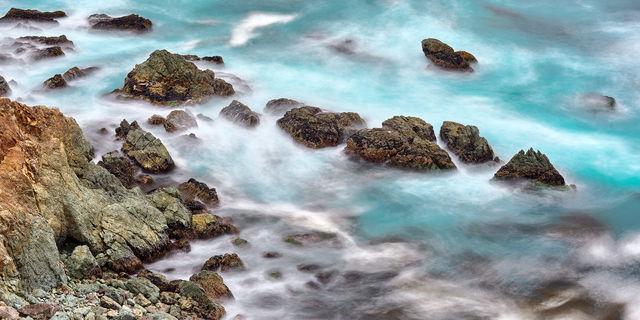 Big Sur, California, Tropic, Turbulance, ocean, waves, rocks, sea spray, coast, coastline, swirling, motions