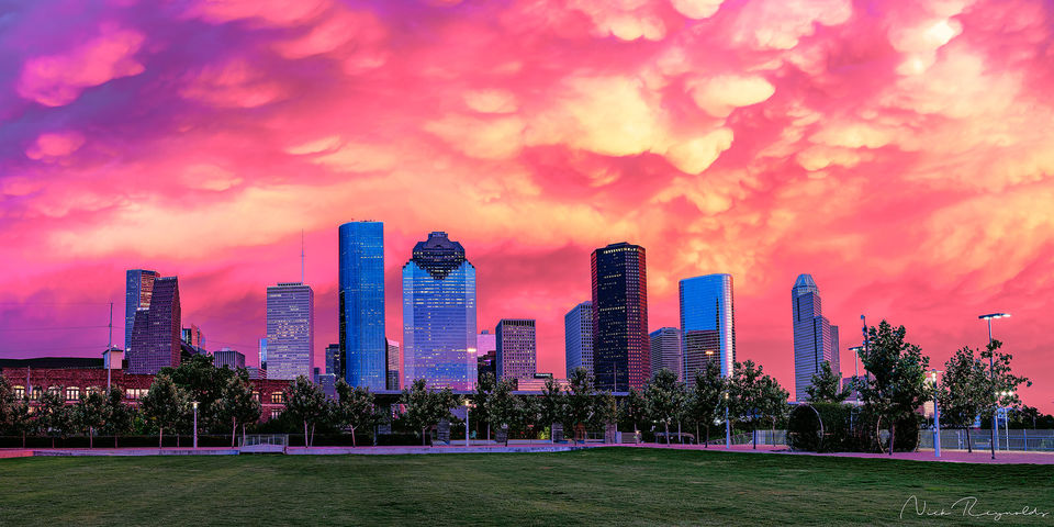 Spectacular, sunset, Houston, downtown, limited edition, fine art, u.s., Houston, Texas, sky,