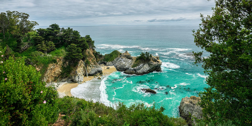 Neverland, McWay Falls, waterfall, coast, Big Sur, Central, California, McWay Creek,  Julia Pfeiffer Burns State Park, Carmel, Pacific, Ocean, tidefall, ocean, coastline, beautiful, famous,