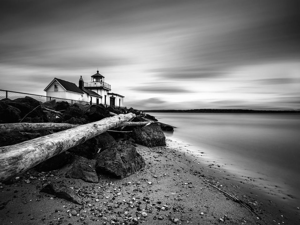 West, Point, Lighthouse, Discovery, Park, Historic, Places, Seattle, Washington, West, Point, Elliott Bay, Pacific, Northwest, landscape, photo, dreary, day, mood, scene, Limited, edition, coastline