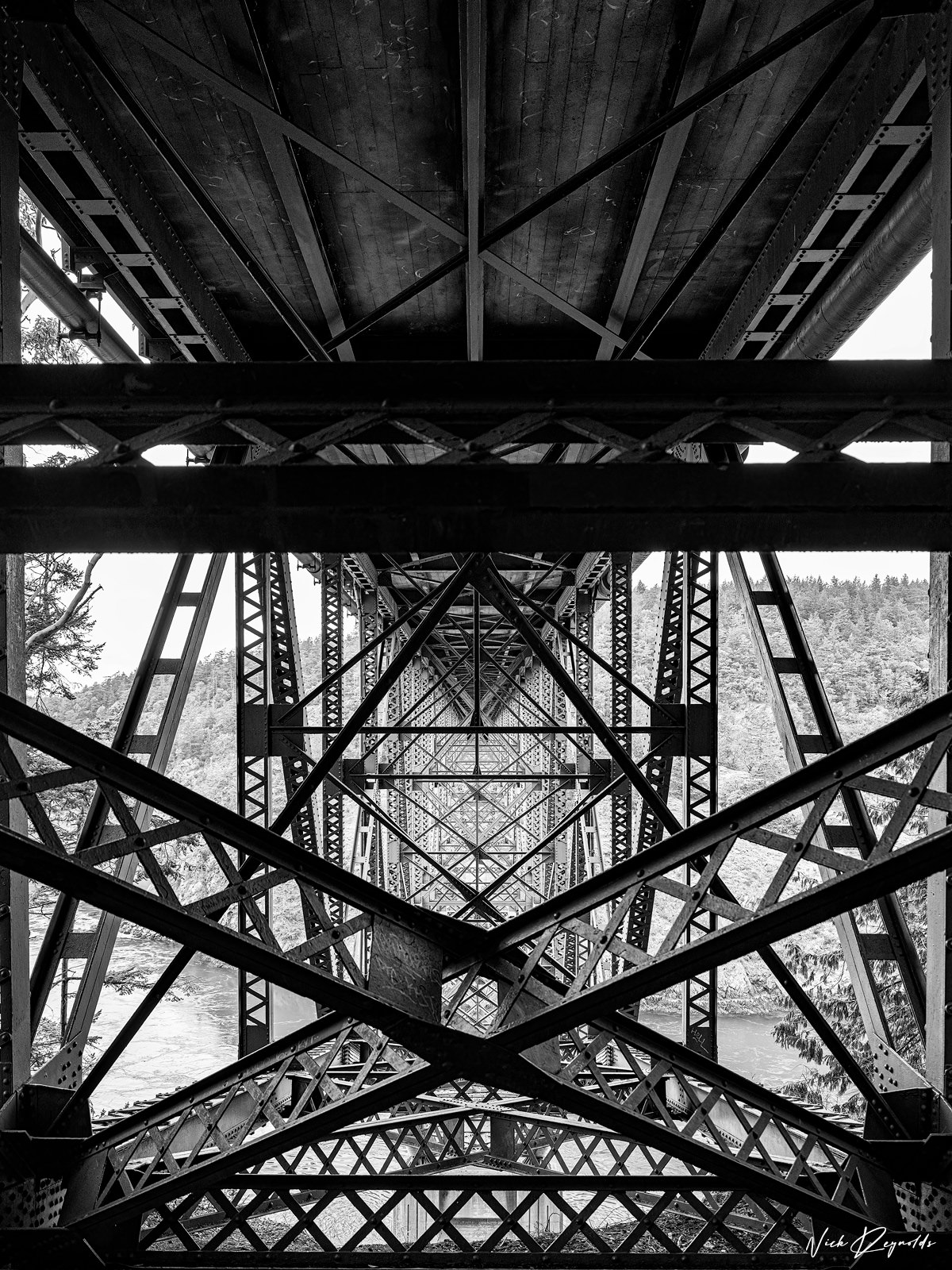 A Fine Art Limited Edition -  This black and whitephotographwas taken on the trail under the Deception Pass Bridge...
