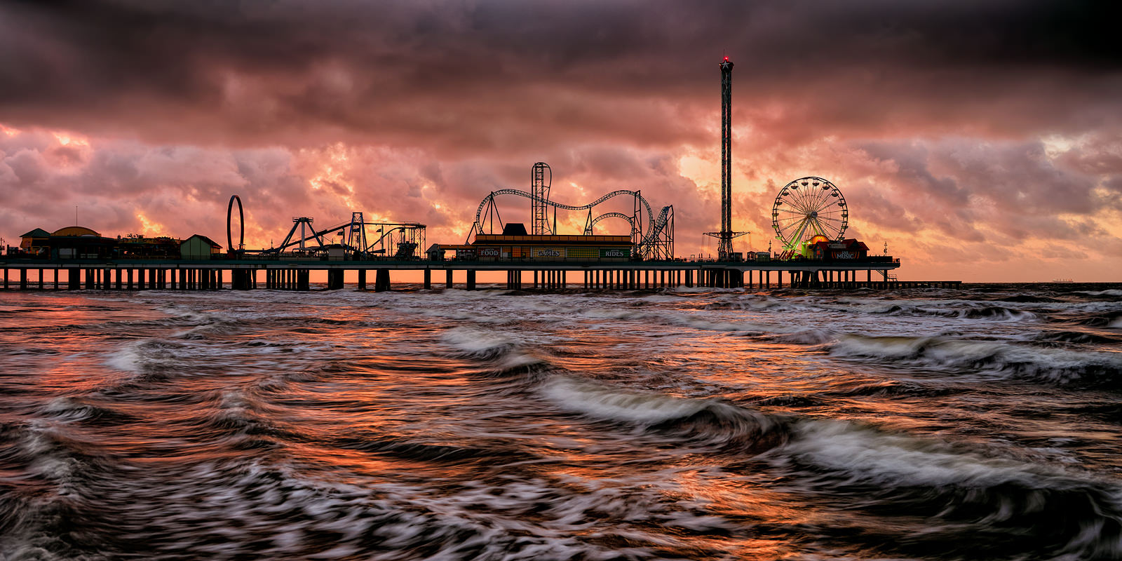 A Fine Art Limited Edition  The new Galveston Island Historic Pleasure Pier was built 1,130 feet out over the Gulf of Mexico...